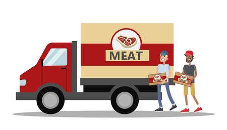 Camión grande lleno de carne. Fabricación de carne. Trabajadores que llevan cajas al vehículo. Entrega rápida. Ilustración plana vector aislado