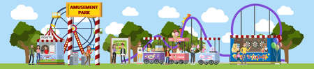 Parque de atracciones con palomitas de maíz, helados y carruseles. Entrada al parque. Los niños y sus padres se divierten en el parque y juegan a los dardos. Paisaje urbano de verano. Ilustración vectorial plana