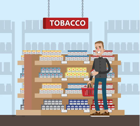 Duty free interior in the airport building. Man buying cheap tobacco or cigarette. Tax free. Vector flat illustration Stock Illustratie