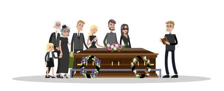 Cerimonia funebre al cimitero. Persone tristi in abiti neri in piedi con fiori e ghirlande intorno alla bara. Illustrazione piana di vettore isolato