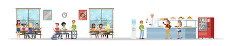 School cafeteria interior. Children have lunch in the dining room. School canteen. Isolated vector flat illustration