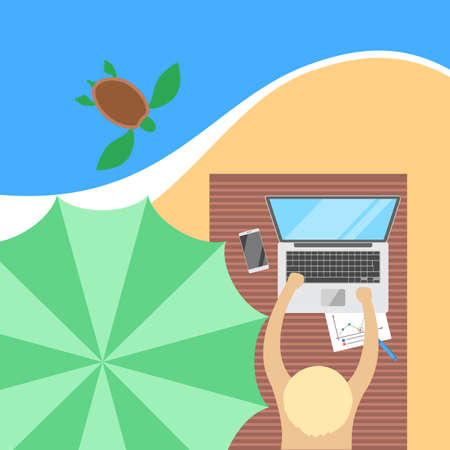 Freelance concept. Working remotely on the laptop computer through the internet while travelling. Summer vacation on the ocean beach. Vector flat illustration 向量圖像
