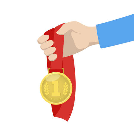Hand holding a golden medal with red ribbon. Champion award, prize for winner. Idea of victory and success. Isolated flat vector illustration