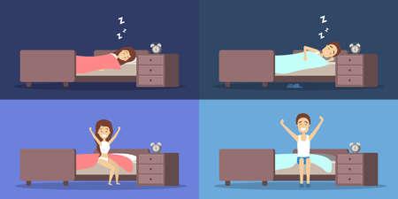 Conjunto de mujer y hombre durmiendo en la cama y despertando de buen humor. Descansar en el dormitorio y despertar por la mañana. Ilustración vectorial plana