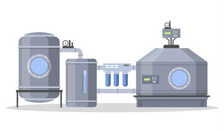 Automated water purification process. Testing water. Isolated vector flat illustration