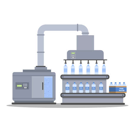 Automated water bottling process. Packaging purified water. Isolated vector flat illustration Illustration