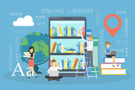 Online library concept. Using mobile phone for learning and education. People read digital books on their smartphones. Flat vector illustration