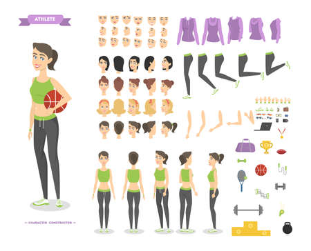 Pretty fitness woman character set for animation with various views, hairstyles, emotions, poses and gestures. Sport equipment set. Isolated vector illustration