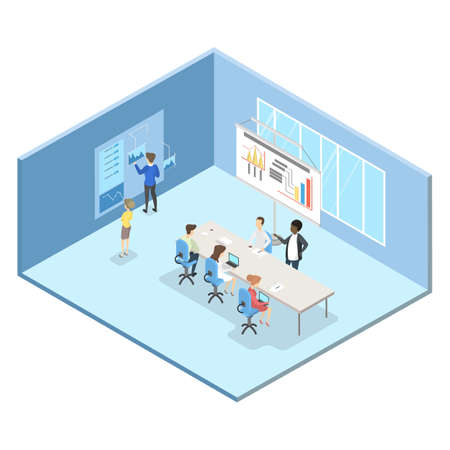 People at the business meeting in the conference room. Office or bank interior isometric. Isolated vector illustration