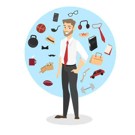 Man standing around every day accessories and devices. Collection of different things such as bag, clock and phone. Isolated vector illustration in cartoon style
