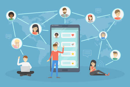 Abstract social network scheme. Global connection between business people. Idea of modern technology and business communication. Isolated flat vector illustration Imagens - 111873557