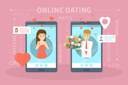 Concepto de aplicación de citas online. Relación virtual y amor. Comunicación entre personas a través de la red en el teléfono inteligente. Combinación perfecta. Ilustración vectorial plana