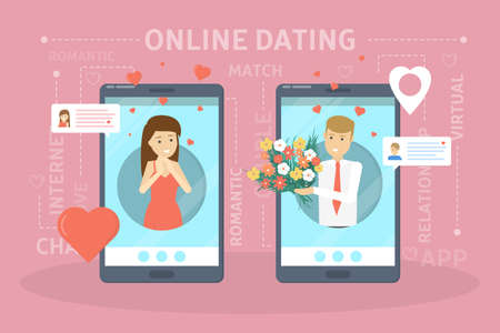 Online dating app concept. Virtual relationship and love. Communication between people through network on the smartphone. Perfect match. Flat vector illustration Çizim