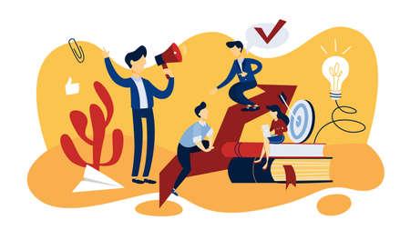 Notion de mentorat. Idée de leadership et de travail d'équipe. Accompagnement et conseil au salarié. Illustration vectorielle plane isolée