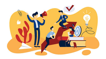 Mentoring concept. Idea of leadership and teamwork. Support and giving advice to employee. Isolated flat vector illustration