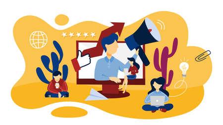 Concepto de relaciones públicas en línea. Idea de realizar anuncios a través de internet para publicitar su negocio. Estrategia de gestión y marketing. Ilustración vectorial plana