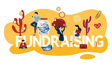 Fundraising concept. Idea of charity and sponsorship. Money investment in idea. Isolated flat vector illustration Illustration