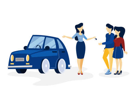 Young happy couple buying new blue car. Sales woman giving keys to the buyer. Isolated flat vector illustration