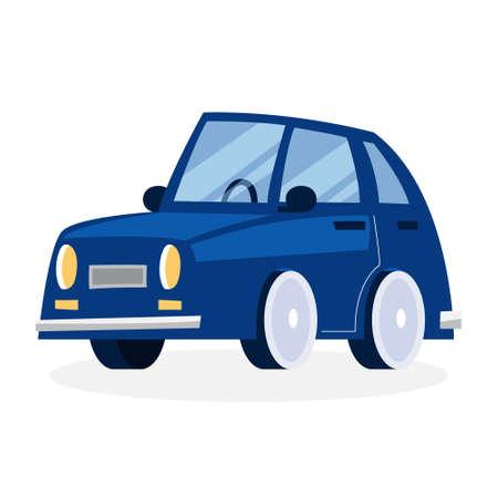 Funny cartoon blue car. Vehicle design. Isolated flat vector illustration Illustration