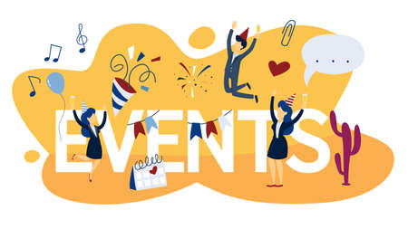 Events concept. Looking for upcoming events and news on calendar. Idea of social media. Isolated flat vector illustration