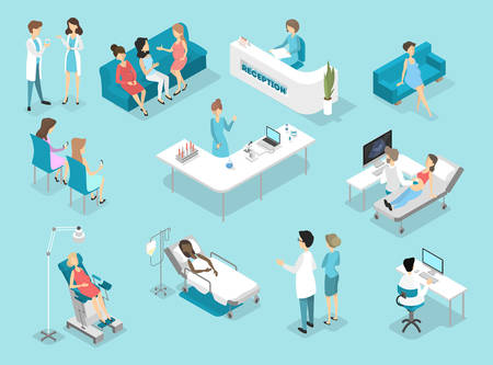 Isometric flat interior of gynecology procedures: examination in laboratory and waiting room. Doctors and nurses treating female patients in the hospital. Flat vector illustration