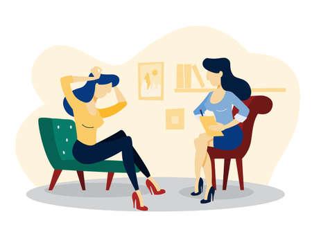 Donna triste che si siede sulla sedia che parla con psicologo femminile. Visita dallo psichiatra e trattamento della depressione. Illustrazione vettoriale piatto isolato Logo