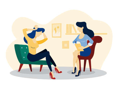 Sad woman sitting on the chair talking to female psychologist. Visit to psychiatrist and depression treatment. Isolated flat vector illustration