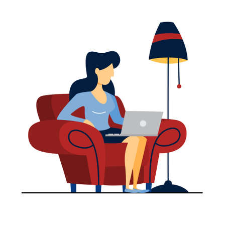 Young woman sitting on the red armchair and working on the laptop computer. Isolated flat vector illustration Illustration