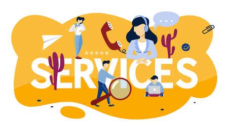Concetto di servizi. Idea di assistenza clienti. Aiuta i clienti con i problemi. Fornire al cliente informazioni preziose. Illustrazione vettoriale piatta