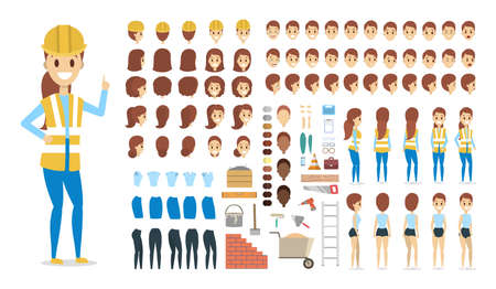 Cute female builder character in uniform set for animation with various views, hairstyles, face emotions, poses and equipment. Isolated vector illustration