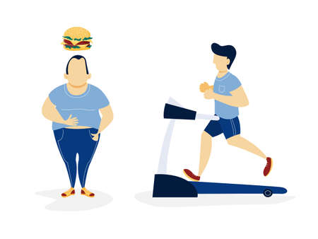 Fat and thin man. Over weight man thinking about unhealthy food and slim man running on a treadmill. From thick to skinny. Isolated flat vector illustration Ilustracje wektorowe