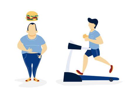 Uomo grasso e magro. Uomo di peso eccessivo che pensa al cibo malsano e uomo magro che corre su un tapis roulant. Da spesso a magro. Illustrazione vettoriale piatto isolato Vettoriali