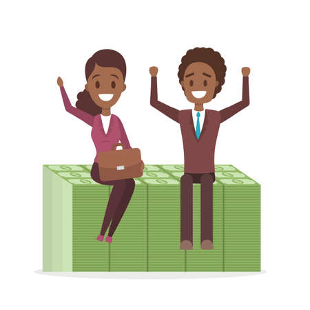Happy african american businessman and business woman sitting on the huge pile of green banknotes. Idea of financial growth and success. Isolated flat vector illustration