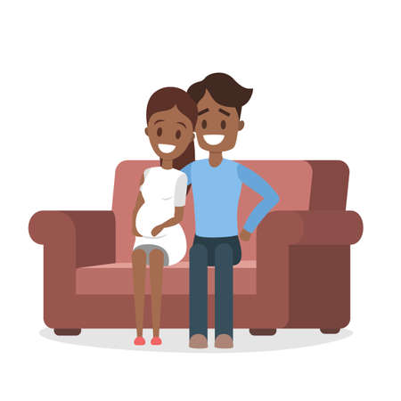 Young african american couple sitting on the couch. Happy pregnant wife and husband at home. Isolated vector illustration Ilustração Vetorial