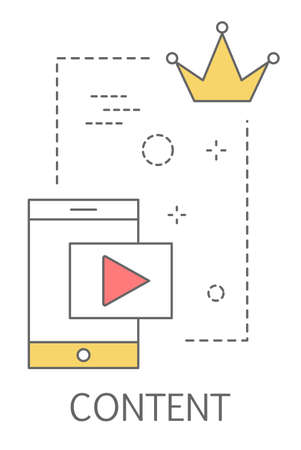Content concept. Share content in the internet. Idea of social media and network. Feedback, communication and popularity. Isolated flat vector illustration