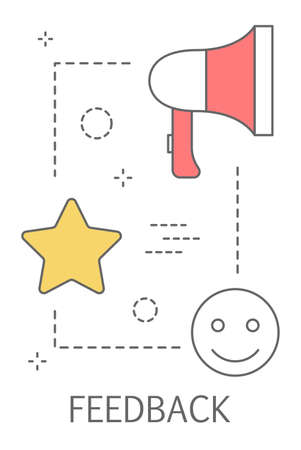 Feedback concept. Customer review on a product. Positive or negative comment. Line icon set with star and megaphone. Isolated flat vector illustration