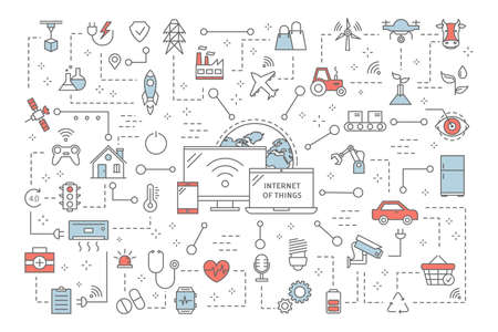 Internet of things concept. Modern global technology. Connection between devices and house appliances. Idea of smart home. Set of IoT icons. Isolated flat vector illustration