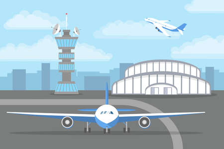 Aircarft standing on the landing strip in front of the airport. Travel and tourism. Flat vector illustration Иллюстрация