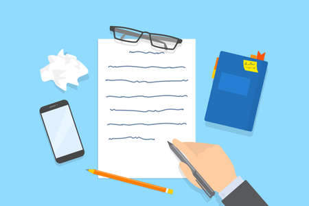 Hand writing text message on the paper sheet. Working as copywriter or journalist. Creative mind and brainstorm. Flat vector illustration