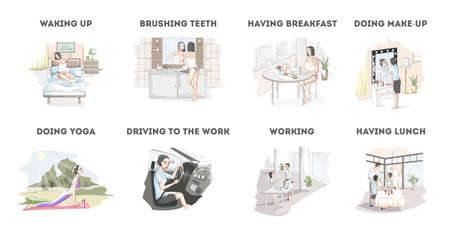 Woman daily routine. The beginning of the day. Waking up, having breakfast, going to the work and other activities. Young woman lifestyle. Isolated vector illustration