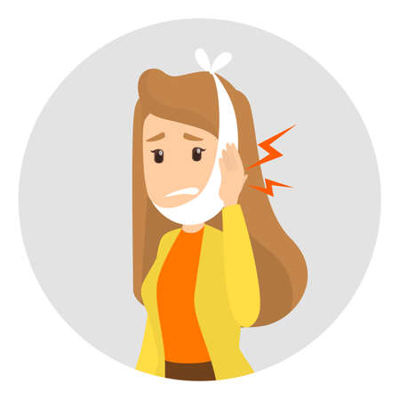 Sad woman suffering from a strong toothache. Patient touching cheeck and feel the pain. Isolated vector illustration in cartoon style