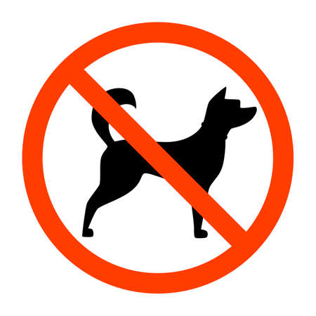No dogs sign. Red forbidden sign with dog silhouette behind it. Animals not allowed emblem. Isolated flat vector illustration Banque d'images - 111875164