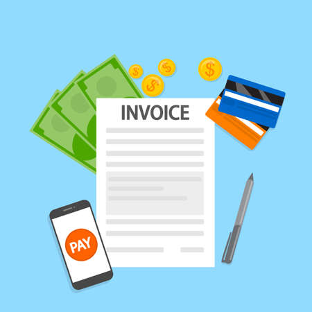 Invoice concept. Signing financial document containing bill. Payment terms. Flat vector illustration