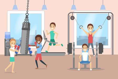 Grupo de hombres entrenando en el gimnasio. Ilustración de vector
