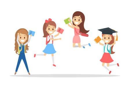 Set of cute little jumping school kids. Group of happy girls with bags and books having fun. Isolated flat vector illustration