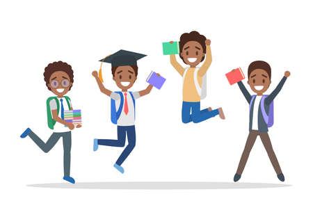 Set of cute little jumping african american school kids. Group of happy boys with bags and books having fun. Isolated flat vector illustration