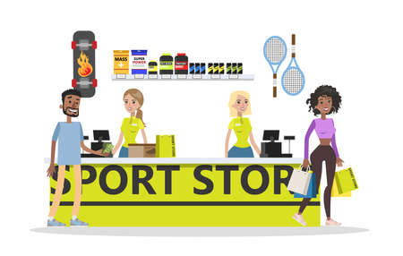 Sports store cash register. Happy client buying equipment. Sport nutrition on the shelves. Isolated vector flat illustration