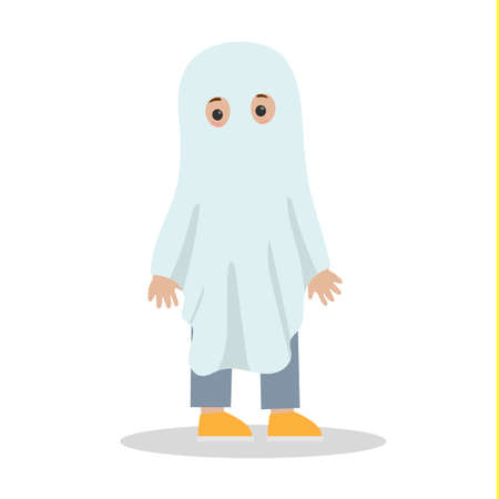Cute child in a white ghost costume. Funny outfit for halloween party