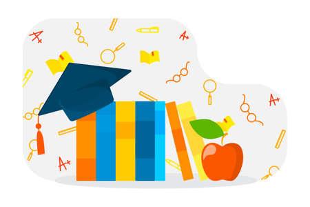 Libros con gorro de graduación. Idea de conocimiento y educación. Ilustración de vector plano aislado