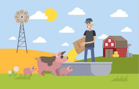 Smiling male farmer feeding pig on the farm. Life in the village. Vector flat illustration